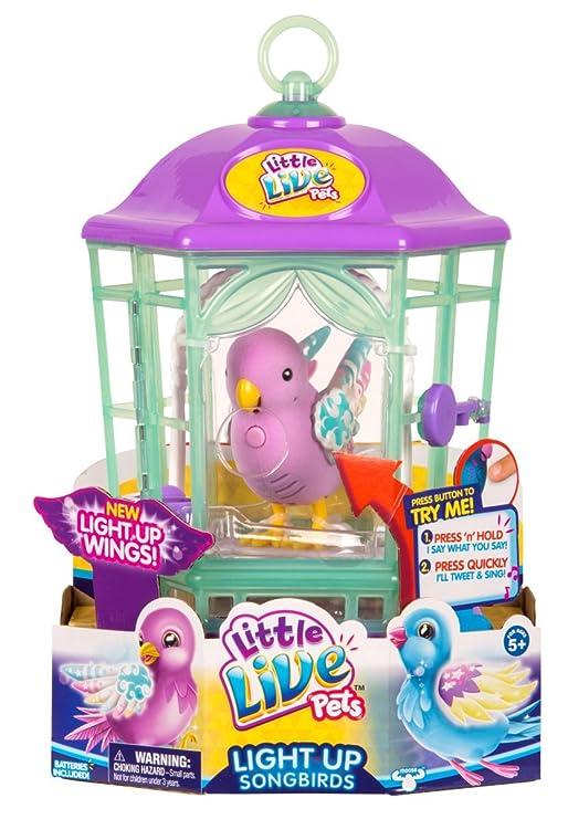 Little Live Pets Character – 28546 Light-Up Bird Cage – Rainbow Glow – Vögelchen mit Aufnahmefunktion und leuchtenden Flügeln