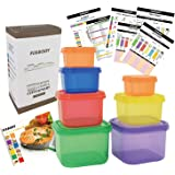 FIXBODY Portion Control Containers, Color-Coded Labeled, 7 Pieces, 21 Day Lose Weight System (Use Guide, 21 Day Tracker…