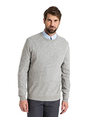 WoolOvers Mens Cashmere and Merino Crew Neck Sweater Flannel Grey, S