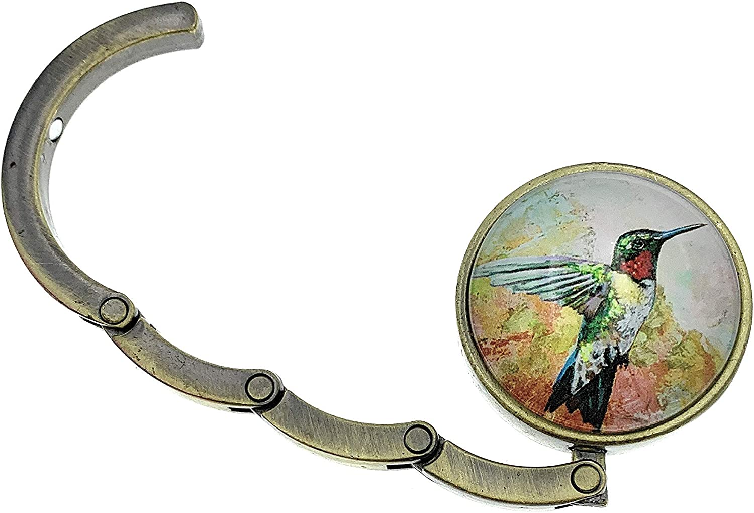 Value Arts Hummingbird Folding Purse Hanger Brass and Glass