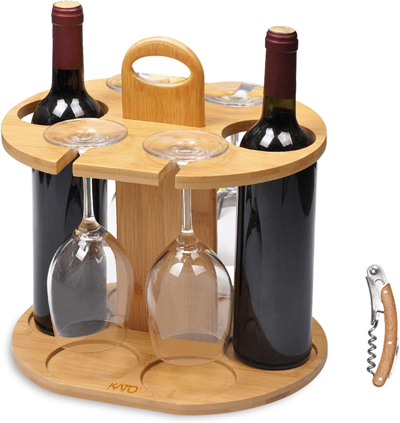 Wine Bottle Holder Glass Cup Rack W Handle Free Wood Handle Corkscrew Wine Organizer Bamboo Stand Countertop Tabletop Display Home Kitchen