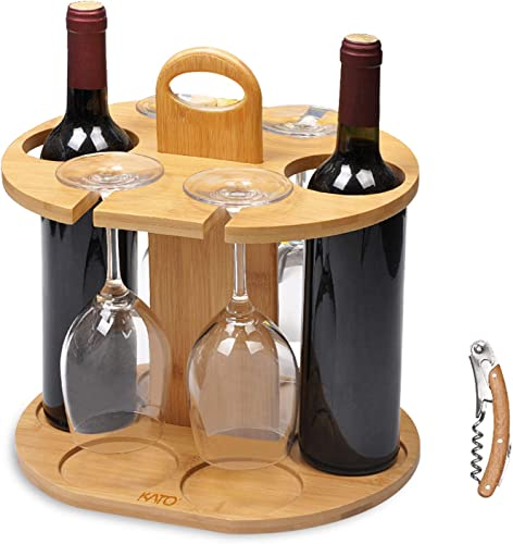 Wine Bottle Holder Glass Cup Rack w/Handle Free Wood Handle Corkscrew