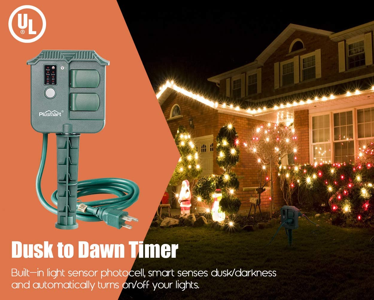 UL Listed Outdoor Light Sensor Timer Waterproof 15Amp Plusmart 100 Feet Range Remote Control Outdoor Timer with 3 Grounded Outlets for Christmas//Garden Light