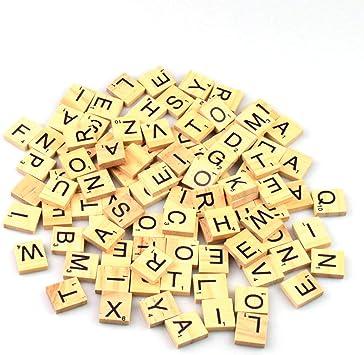 GK 200 Letras de Scrabble de Madera Azulejos Individuales Números de elección para Manualidades Alfabeto para Manualidades Colgantes, Azulejos de Scrabble de Madera: Amazon.es: Juguetes y juegos