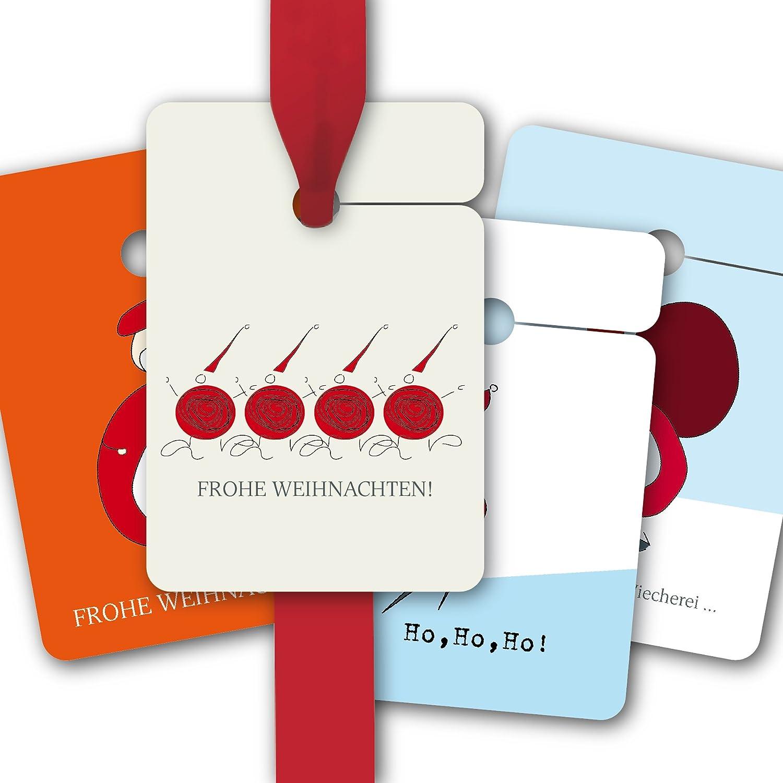 Weihnachts Geschenk Anhänger   Papieranhänger   Geschenk Karten (80Stk) zu Weihnachten mit komischen Weihnachtsmännern: Frohe Weihnachten   Ho, Ho, Ho!   Jeds Johr dieselbe Viecherei.