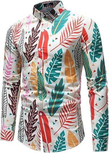 BESBOMIG Hombre Camisa Manga Larga Slim Fit - Formal Tops Blusa Negocio Playa Verano Unisex Funky Camisa Hawaiana L-5XL: Amazon.es: Ropa y accesorios