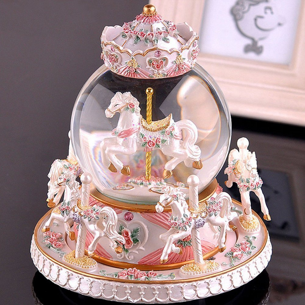 LOHOME Rotate Music Box, Luxury Carousel Crystal Ball Glass Ball Doll Miniature Dollhouse Toy with Castle in the Sky Tune Perfect for Christmas Gift Birthday Gift Valentine's Day (Pearl White)