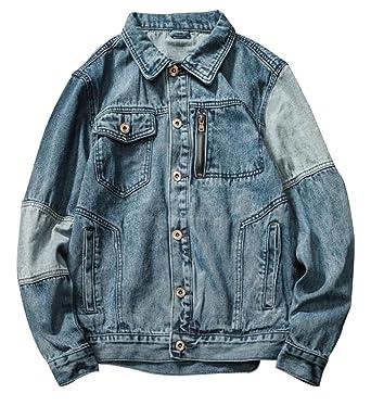 882b80c1d7 Etecredpow Men s Spliced Faded Jean Slim Multi-Pocket Washed Motorcycle Denim  Jacket Washed Blue X