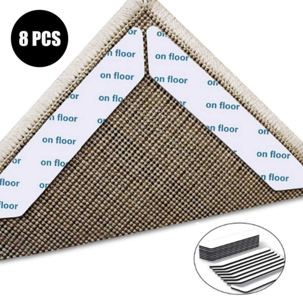 Non Slip Rug Grip 8 PCS Carpet Corner Pad Reusable Non Slip Sticker Anti Curling with Strong zhouzhouji Rug Gripper white Reusable Rug Tape Anti Rug Slip for Carpets