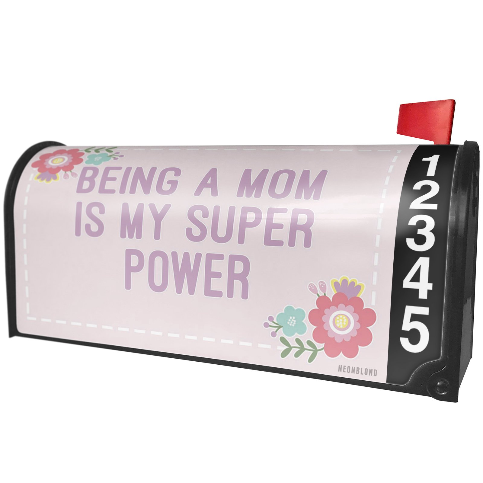 NEONBLOND Being a Mom is my Super Power Mother's Day Cute Flowers Magnetic Mailbox Cover Custom Numbers