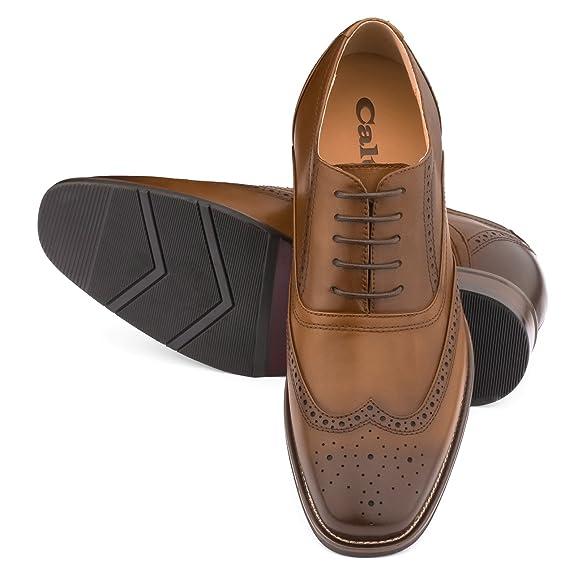 CALTO g60101–2.6pulgadas taller–altura aumentar ascensor zapatos (marrón oscuro cordones Wing-tip), color Marrón, talla 42 EU