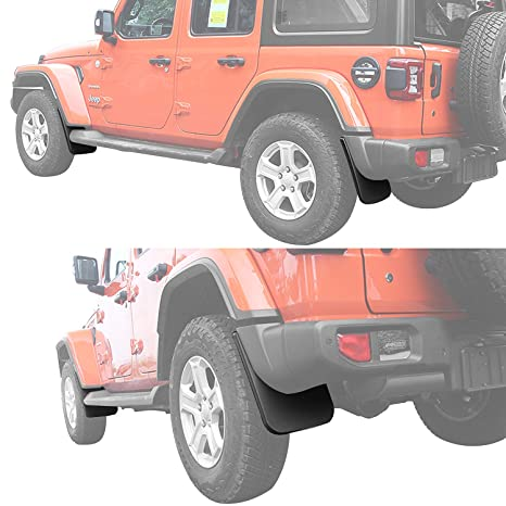 Deluxe Front and Rear Splash Guards Fender Flares Mud Flaps Replace 82215333 82215332AB for 2018 2019 Jeep Wrangler JL