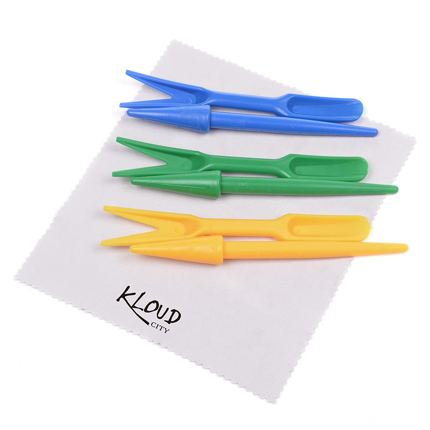 KLOUD City® 3 Sets Succulent Transplanting Mini Tools-Seed Dibbers plus Small Shovels for Transplanting Seedling (Green Blue Yellow)