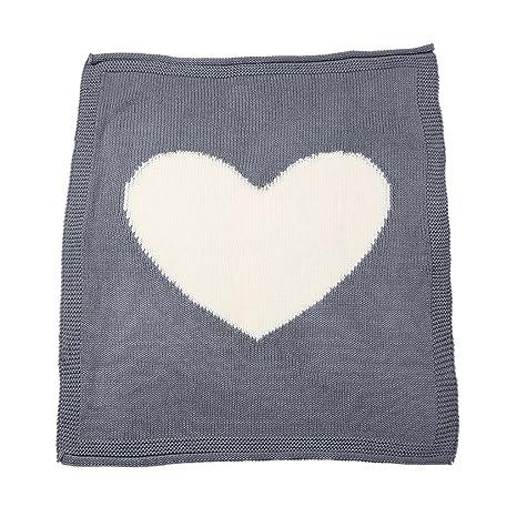 Magideal Infant bebé corazón de lana para tejer chal manta sofá de ganchillo playa colcha alfombra