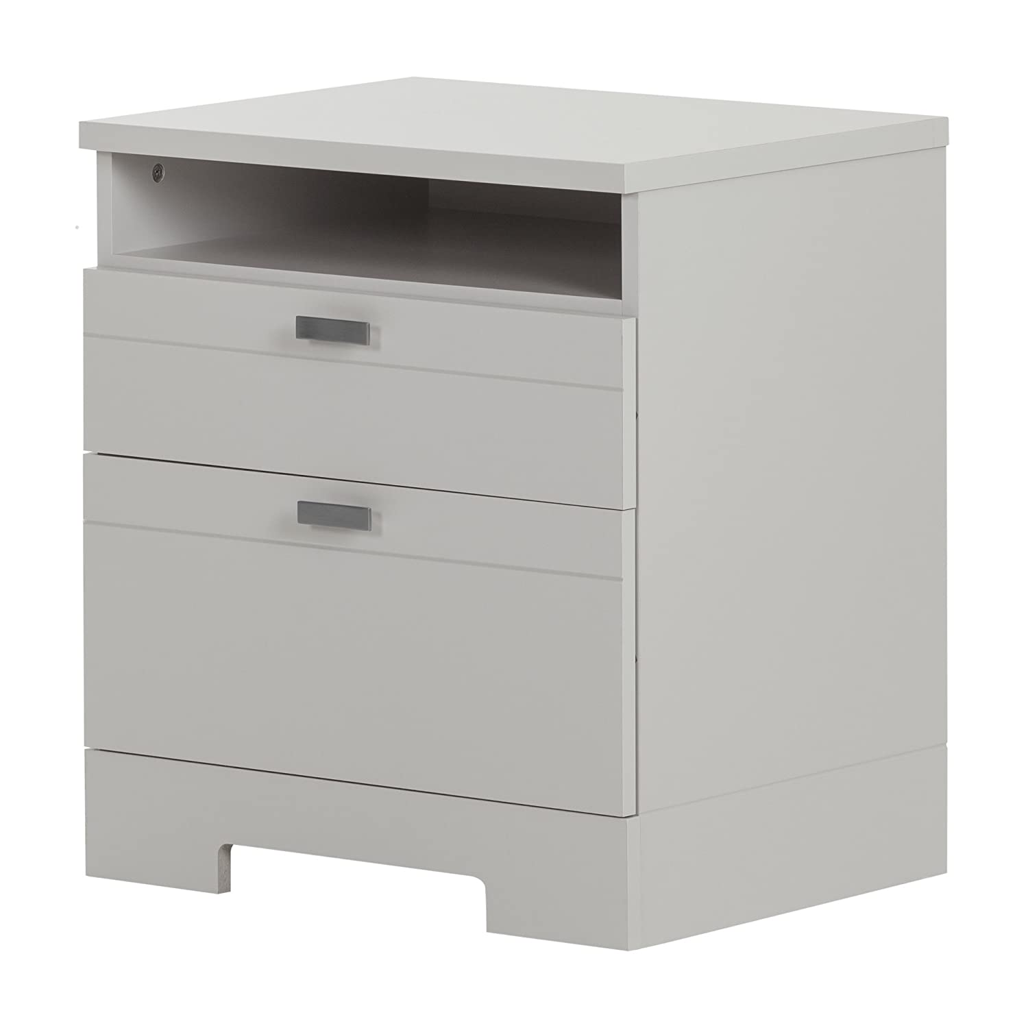 South Shore Reevo 2-Drawer Nightstand, Soft Gray with Matte Nickel Handles