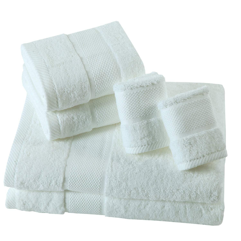 SUMC Handtücher aus Baumwolle-Set mit 2 Badetuch 2 Handtücher und 2 Waschlappen Superweiche Handtücher von 6 Stück, Premium Handtuchset Schwergewicht & saugfähig für Hotel & Faminly,Weiß B071VMMZYQ Sets