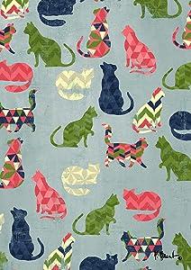 Toland Home Garden Cat Pattern 12.5 x 18 Inch Decorative Cute Colorful Chevron Kitty Design Garden Flag