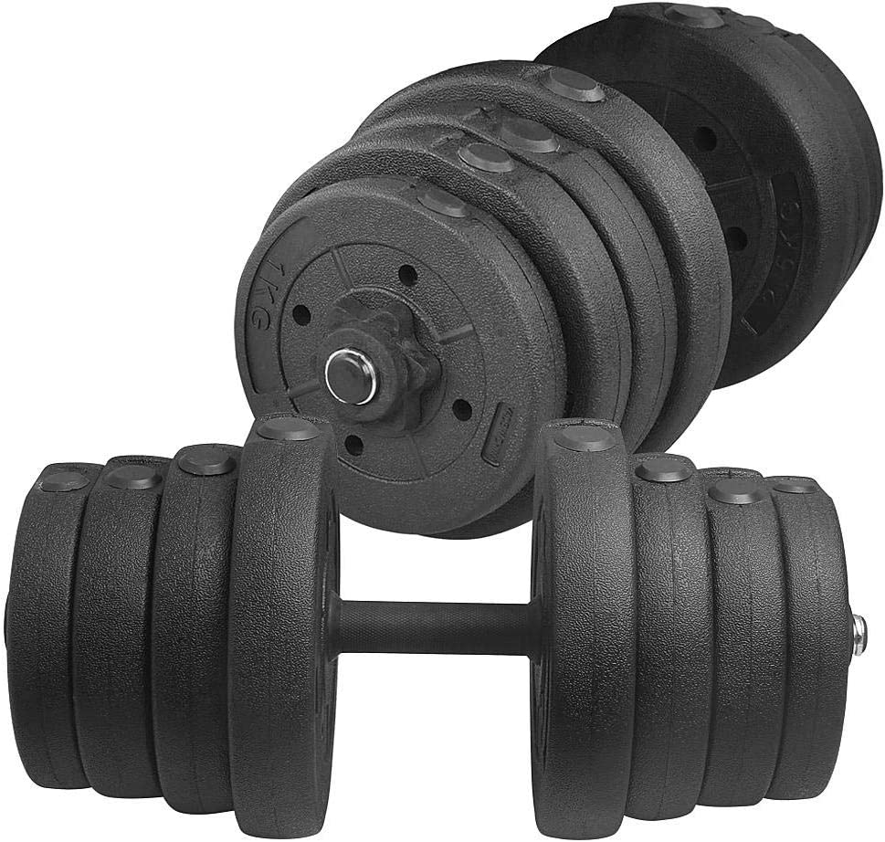 YAHEETECH Adjustable 66LB Dumbbell & Barbell Weight Set