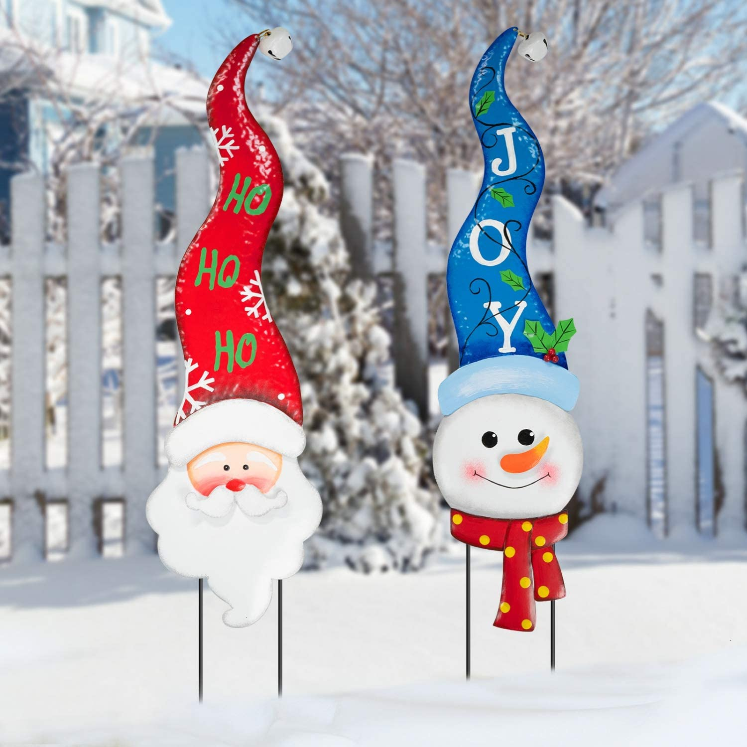 Rocinha Christmas Yard Signs with Stakes and Outdoor Lawn Decorations Metal Snowman and Santa Decor Xmas Yard Stakes for Outdoor Garden Pathway Walkway Themed Party Holiday Decorations (Pack of 2)
