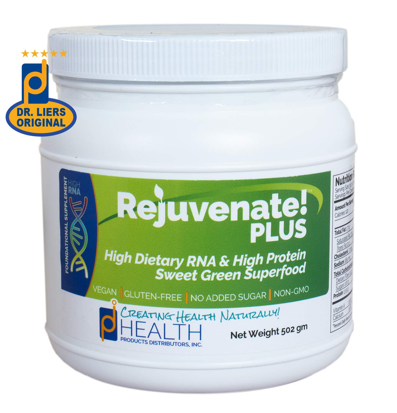 REJUVENATE! Plus (500 gm) - Sweet Green, High-RNA Superfood - High Levels of Dietary Nucleic Acids, Chlorella, Spirulina, Quality Protein | Built-in Multivitamin-Multimineral Complex | D-Ribose by Health Products Distributors, Inc.