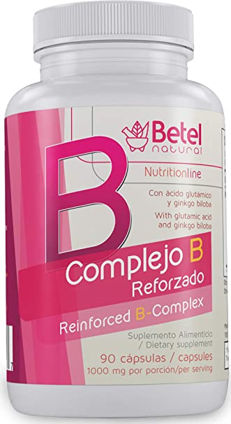 B Complex + (Complejo B +) with Ginkgo Biloba Capsules by Betel Natural -