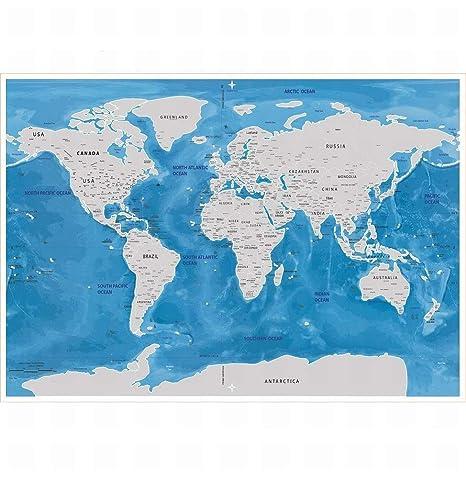 Amazon Com Wisdom Sea World Map Scratch Map Scratch Map Oceans