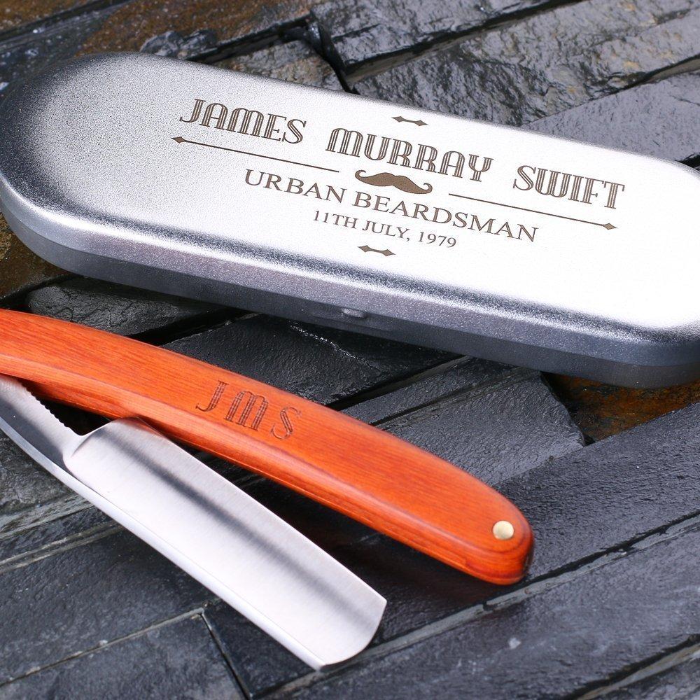 Personalized Straight Razor Blade with Tin Box - Free Custom Engraving