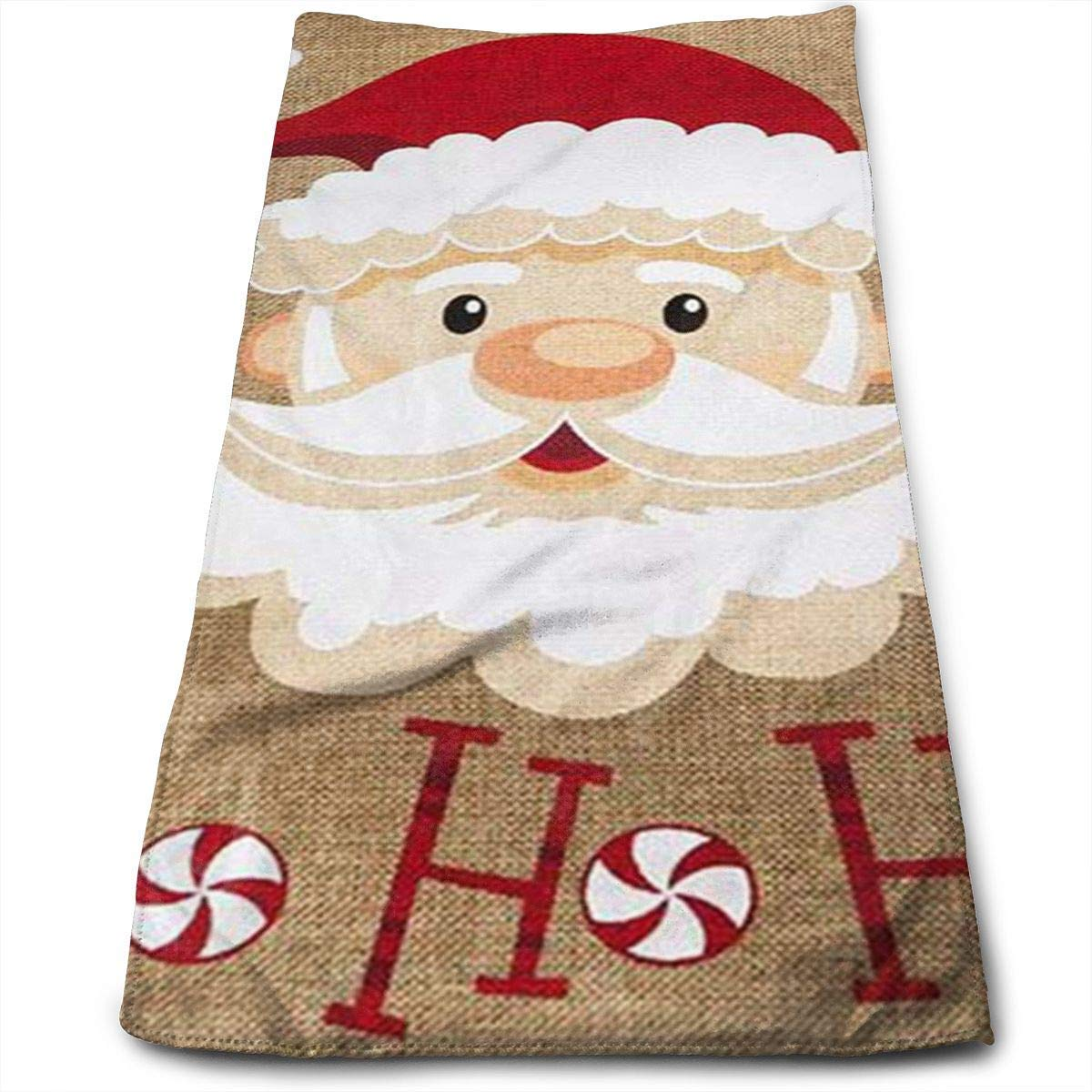 ERCGY Peppermint Santa Happy Polyester Bath Towels for Hotel-Spa-Pool-Gym-Bathroom - Super Soft Absorbent Ringspun Towels