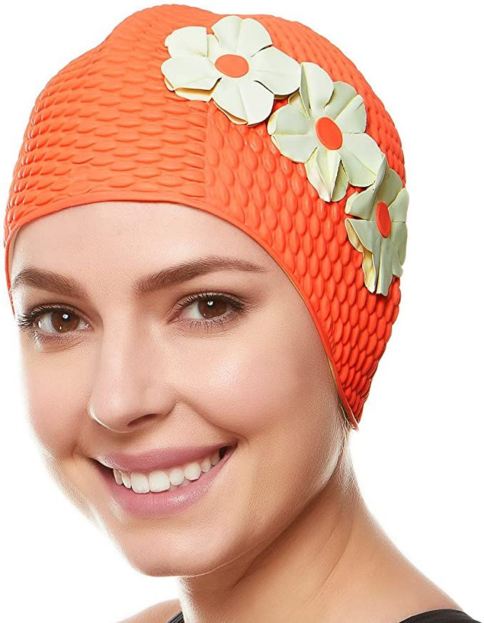 Tea Party Hats – Victorian to 1950s Beemo Swim Bathing Caps for Women Latex Swim Hat Triple Flowers Long/Short Hair $12.49 AT vintagedancer.com
