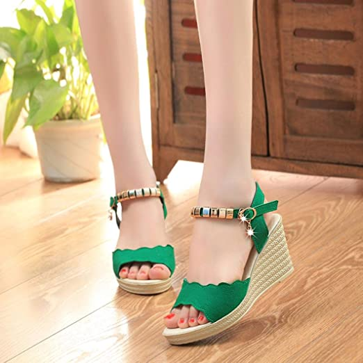 0aa2007201624 AIMTOPPY HOT Sale, Summer Wedges Sandals Shinestone Waterproof Platform  open Toe word Buckle women's Shoes (US:5.5, Green)