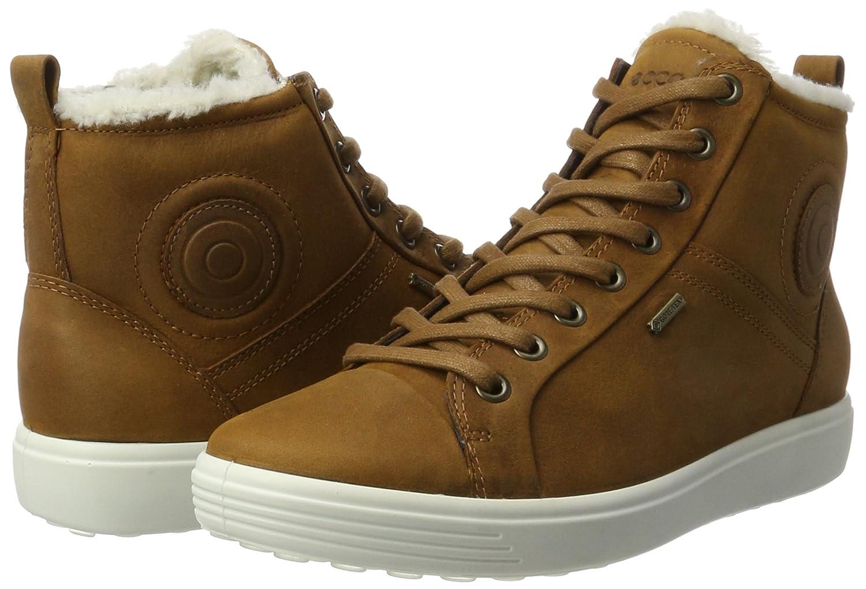 Amazon.com: ECCO Womens Soft 7 Ladies Hi-Top Trainers, Brown (Amber 2112), 9 UK: Shoes