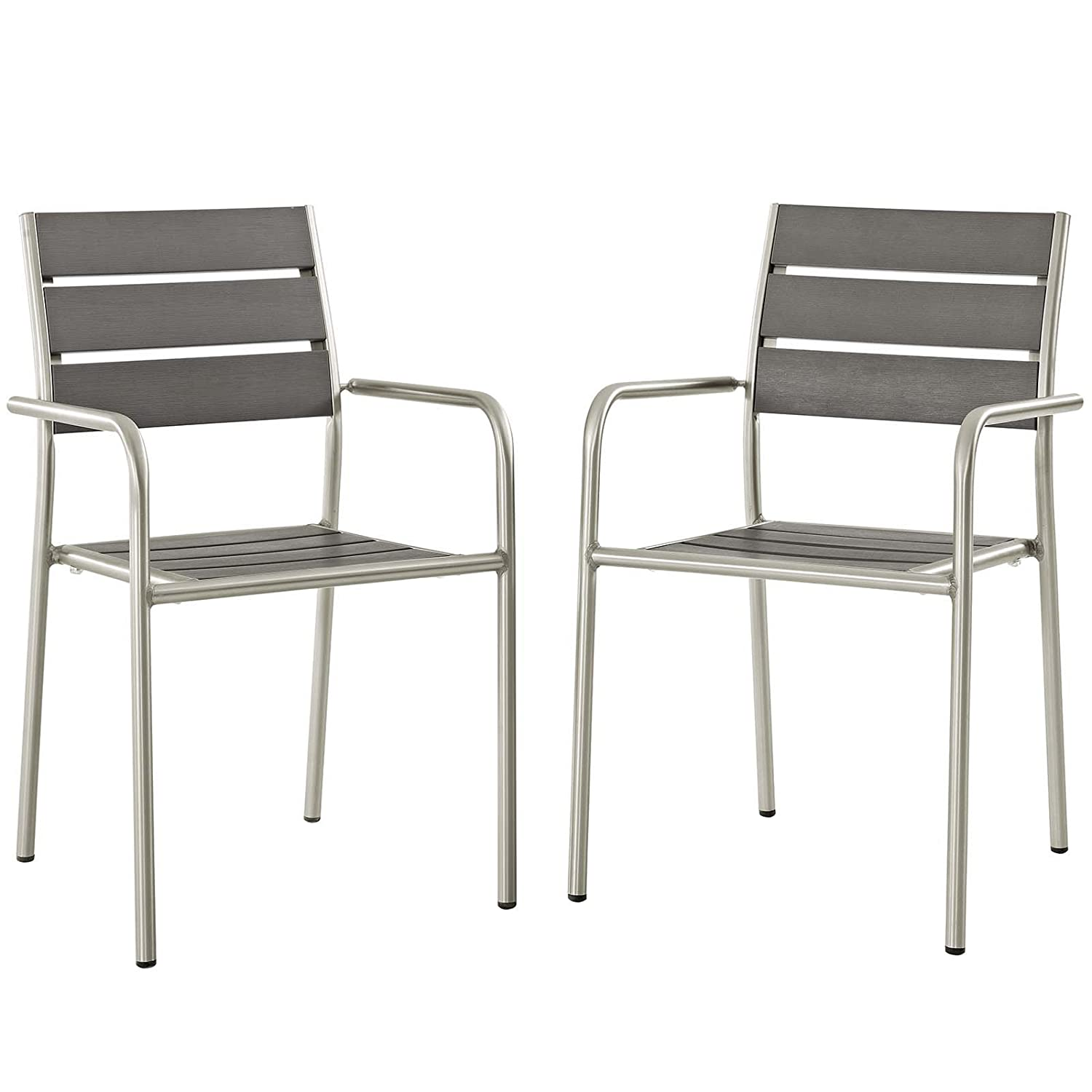 Modway EEI-3203-SLV-GRY-SET Shore Outdoor Patio Aluminum Dining Chair Set of 2 , Two Armchairs, Silver Gray