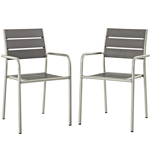 Modway EEI-3203-SLV-GRY-SET Shore Outdoor Patio Aluminum Dining Chair, Two Armchairs, Silver Gray