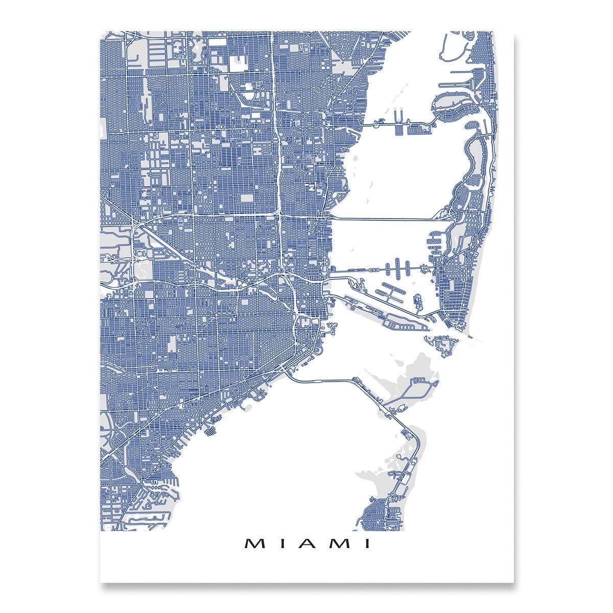 Map Of Florida By City.Amazon Com Miami Map Print Florida City Street Art Handmade