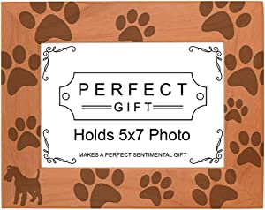 Gifts For All By Rachel Olevia Dog Lover Gift Miniature Schnauzer Paw Print Natural Wood Engraved 5x7 Landscape Picture Frame Wood