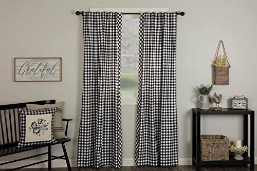Vintage Check Black Panel Curtain