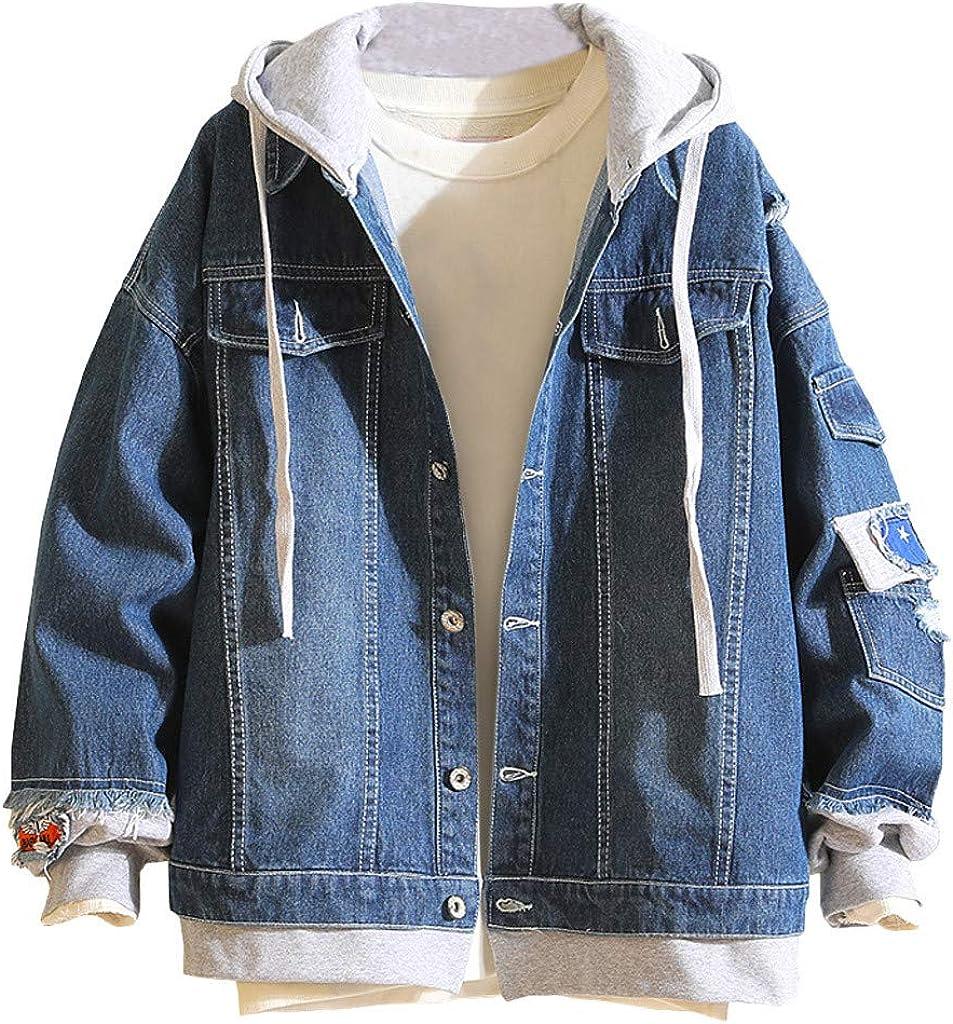 Tosonse Chaqueta De Mezclilla para Hombre Otoño Invierno Casual Vintage Abrigo De Abrigo para Hombre Chaqueta De Mezclilla Desgastada Abrigo Blusa Superior
