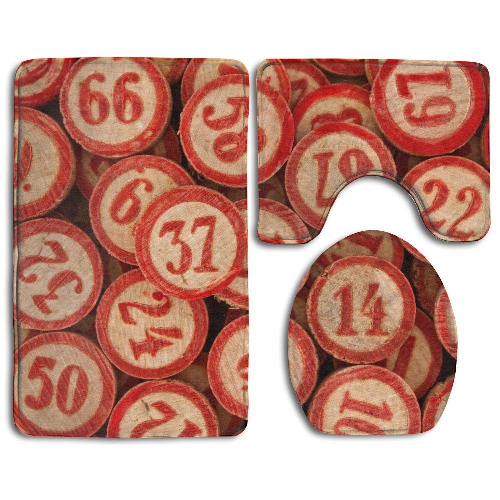 Daily Accessories Bingo Game Number Bathroom Mat Anti-slip 3 Piece Set Bath Mat, Lid Cover Mat And Toilet Mat