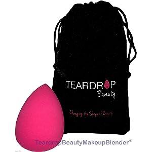 Original Teardrop Beauty Makeup Blender¨ FOUNDATION SPONGES WEDGE COSMETIC PUFFS (Pink Teardrop + Bag)