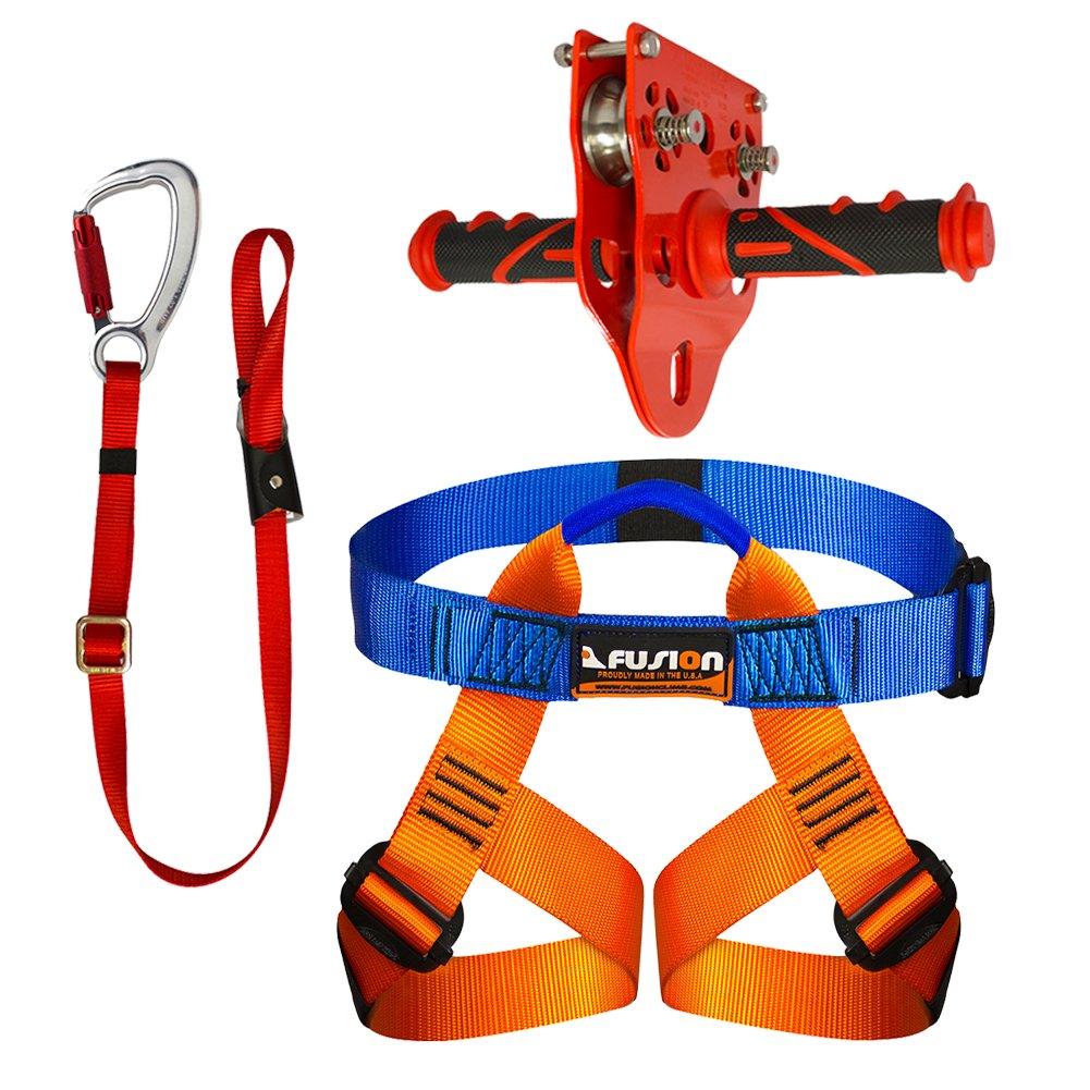 Fusion Kit Climb FK-K-HLT-04 pour Enfant avec Baudrier, poulie et Sangle de sécurité pour tyrolienne de Jardin Fusion Climb