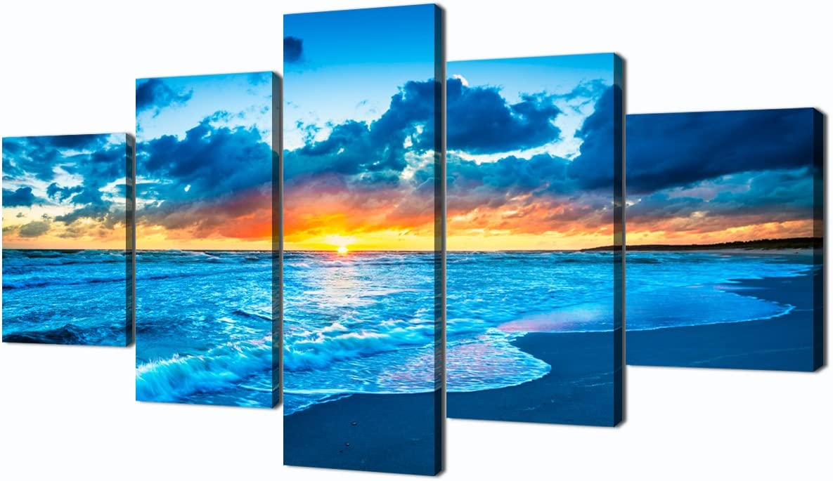 Canvas Painting Beach Ocean Sunrise Modern Landscape Painting on Canvas 5 Piece Print HD Sea View Pictures Giclee Artwork Wall Art for Living Room Home Decor Wooden Framed Stretched (60''W x 32''H)