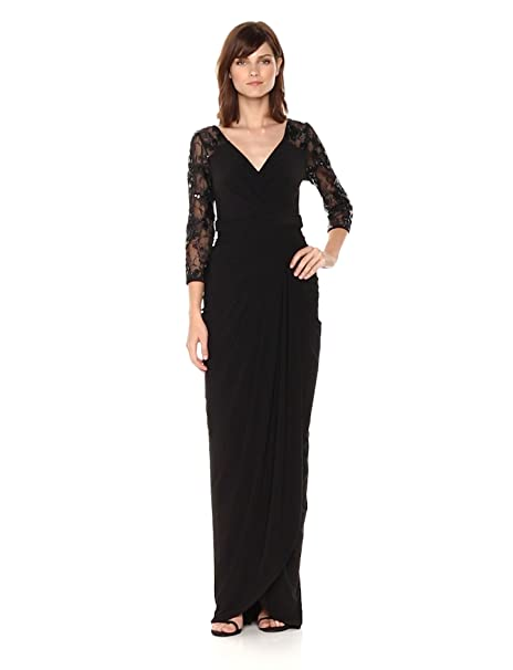 1940s Evening, Prom, Party, Formal, Ball Gowns Adrianna Papell Womens Long Dress with Lace Sleeves $189.00 AT vintagedancer.com