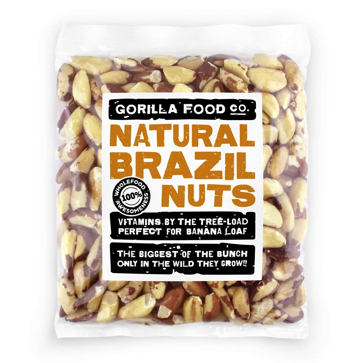 Premium Brazil Nuts Raw Whole - 16oz Pack by Gorilla Food Co