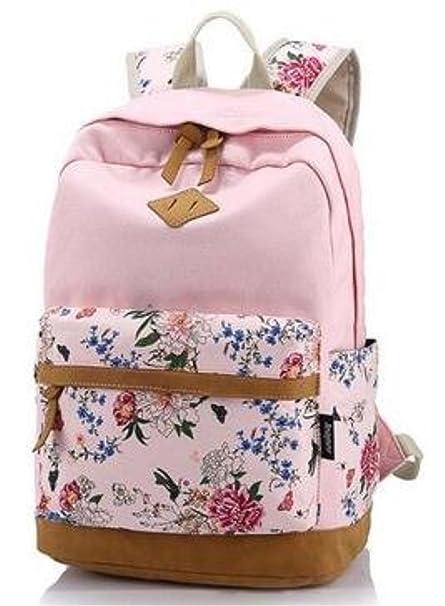 icase4u® Multi Función Moda Mochila Bolsa Escolar Tipo Casual Bonita de Lona de Viaje Mochila de Marcha para Picnic para Mujer o Chica Buena Calidad