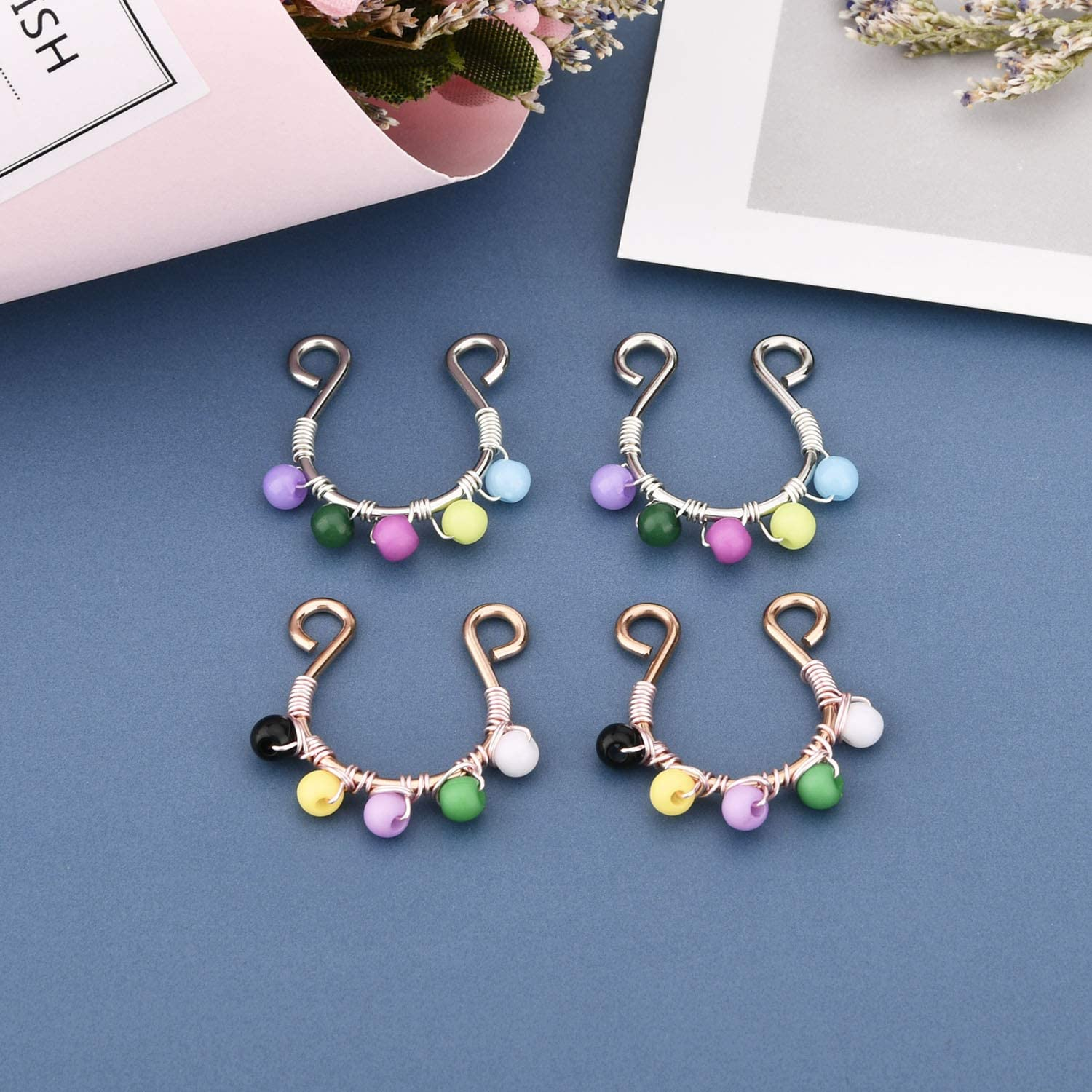 FECTAS Fake Nipplerings Non-Pierced Piercings Clip On Nipple Rings Stainless Steel Faux Nipple Jewelry for Women
