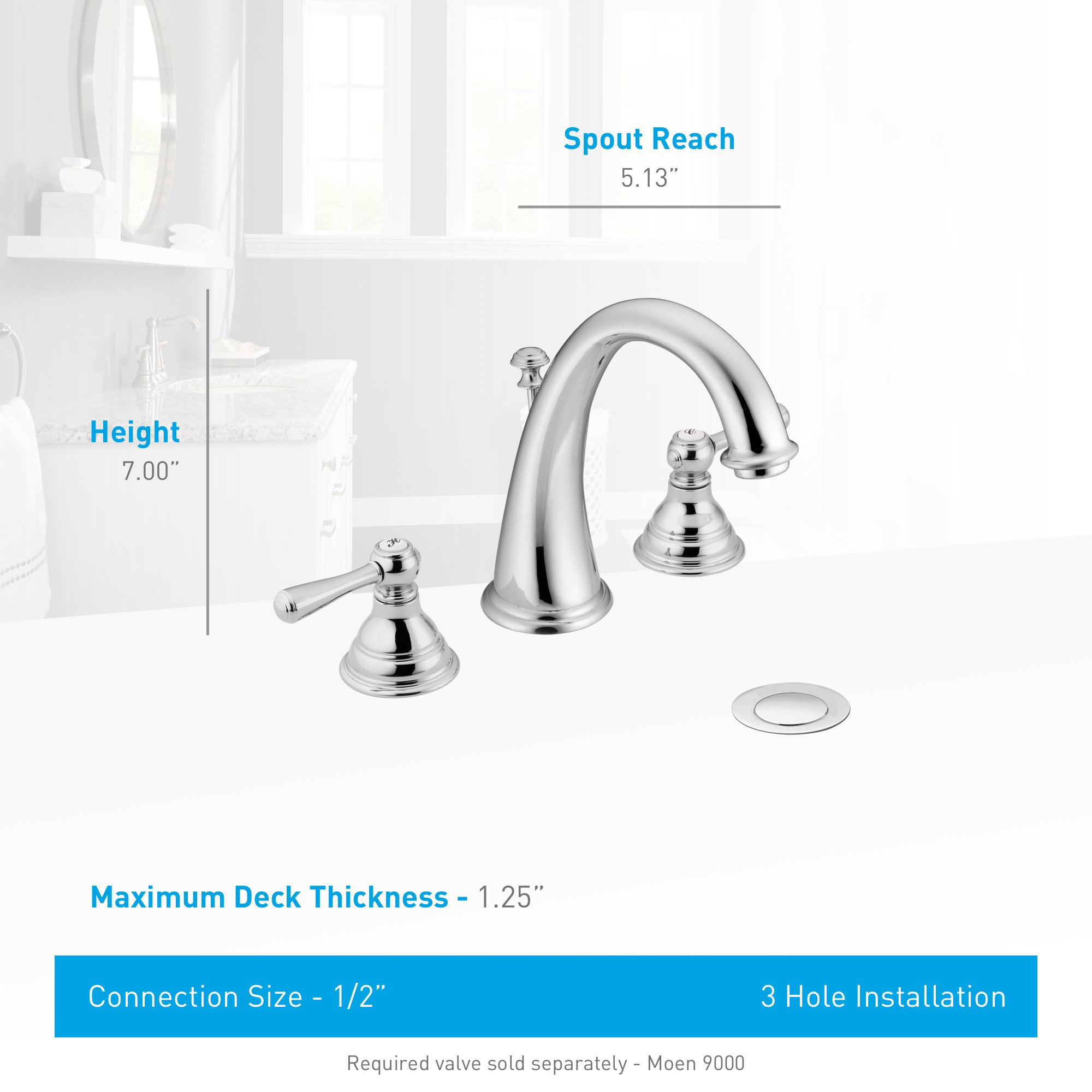Moen T6125P Kingsley Two-Handle High-Arc Widespread Bathroom Faucet without Valve, Polished Brass