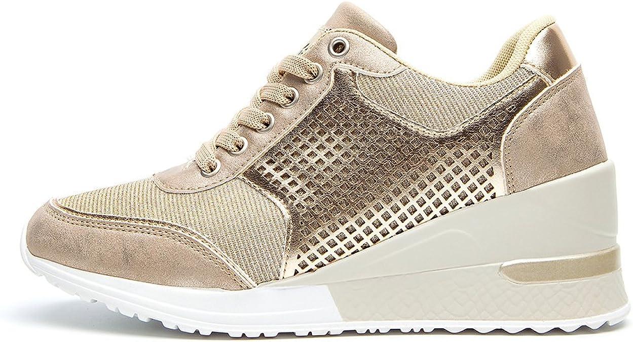 Mujer Zapatillas de Deporte Cu/ña Zapatos para Caminar Aptitud Plataforma Sneakers con Cordones Calzado de Tac/ón 4cm