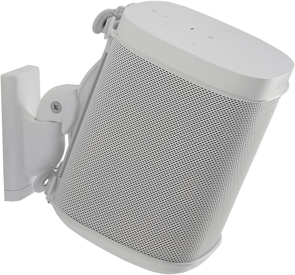 Sanus Wireless Speaker Wall Mount Sonos ONE, ONE SL, Play:9, Play:9 - Tool  Free Tilt & Swivel Adjustments for Best Audio - Single (White) - WSWM29-W9
