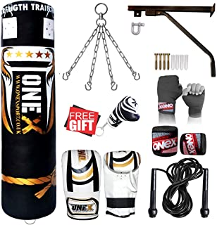 5ft Boxing Filled Punch Bag MMA//KICK//UFC Gloves,Wall Bracket chain FITNESS GYM
