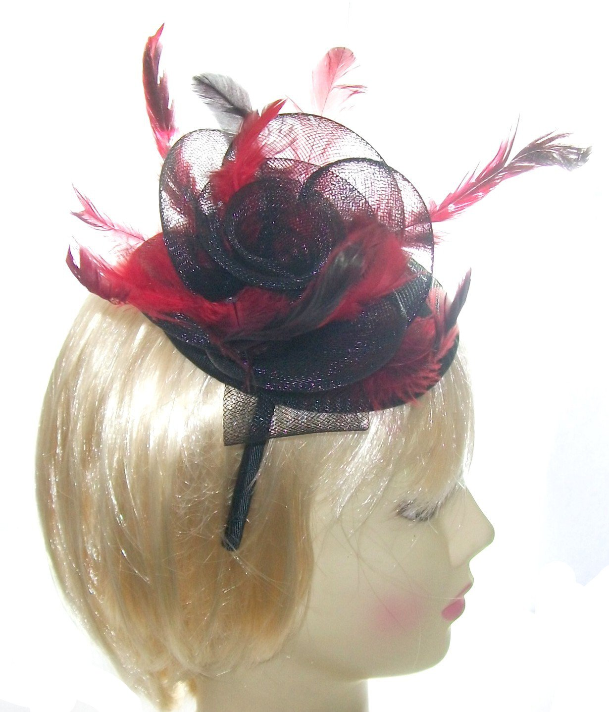 Ladies Black and red hatinator fascinator for Weddings or Races   Amazon.co.uk  Beauty 4873d6bc6e6